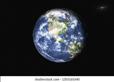 Planet Earth of solar system in the space with far galaxy on the background. Blue planet.  Science fiction. Elements of this image were furnished by NASA