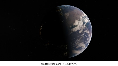 Planet Earth from space 3D illustration orbital view (Elements of this image furnished by NASA)