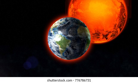 Planet Earth in space against the backdrop of the bright Sun.