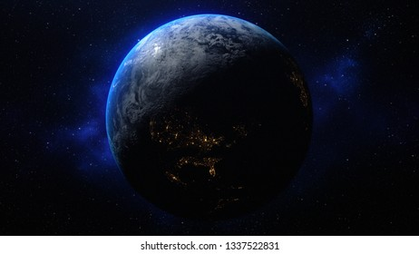 planet earth in the space - Asta - elements of this image furnished by NASA