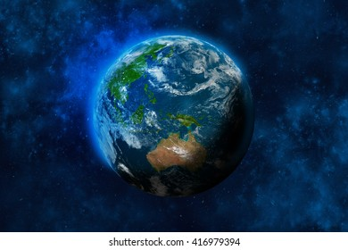 Planet Earth in space. Australia and part of Asia. Elements of this image furnished by NASA. 3D rendering of planet Earth.
