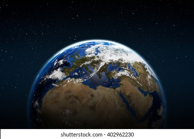 Planet earth from space with clouds europe africa and middle east Elements of this image furnished by NASA