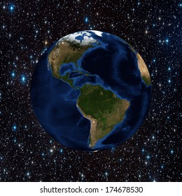 The planet earth in space full of stars