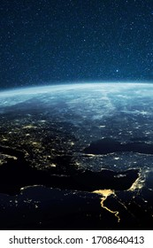 Planet earth from the space at night. Amazing planet Earth with night city lights.