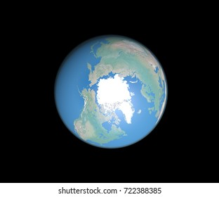 Planet Earth from space showing North Pole. Elements of this image furnished by NASA.