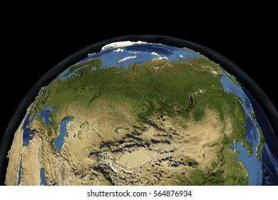 Planet Earth from space showing Russia with enhanced bump, 3D illustration, Elements of this image furnished by NASA