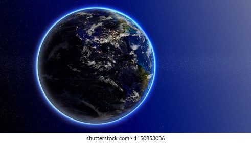 Planet Earth in space, visible lights of American cities.Elements furnished by NASA