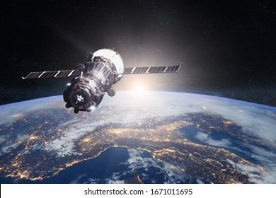 Planet Earth. Spacecraft launch into space. Elements of this image furnished by NASA.