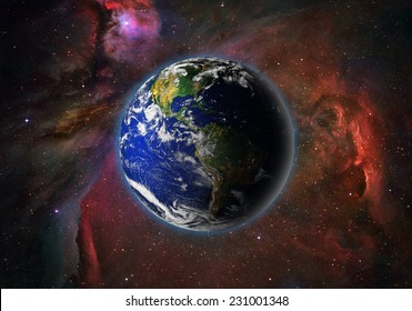 "Planet earth in space.""Elements of this image furnished by NASA"