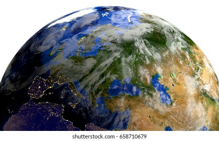 """Planet earth in space.Europe, Africa, Asia. 3d render. """"Elements of this image furnished by NASA"""""""