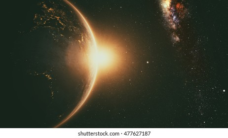Planet Earth with a spectacular sunrise with milkyway in the background. 3d render. Elements of this image furnished by NASA