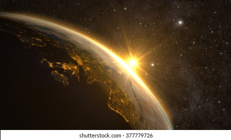 Planet Earth with a spectacular sunrise, view on Europe and Africa. Elements of this image furnished by NASA