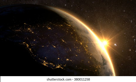 Planet Earth with a spectacular sunrise, view on USA and Canada. Elements of this image furnished by NASA