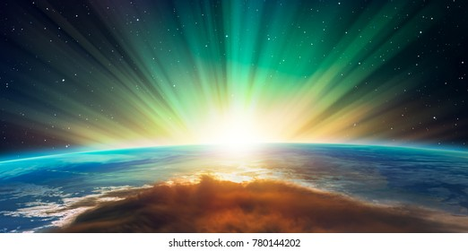 "Planet Earth with a spectacular sunset. A beautiful green and blue aurora dancing over the world ""Elements of this image furnished by NASA"""