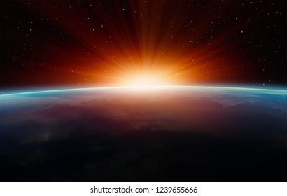 "Planet Earth with a spectacular sunset ""Elements of this image furnished by NASA"""