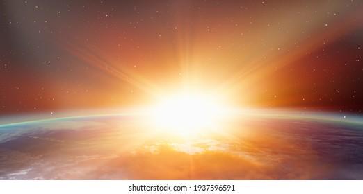 """Planet Erde mit einem spektakulären Sonnenuntergang """"Elemente dieses von der NASA bereitgestellten Bildes"""""""
