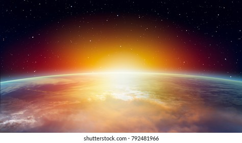 """Planet Earth with a spectacular sunset """"Elements of this image furnished by NASA"""""""