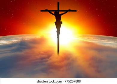 "Planet Earth with a spectacular sunset with  Jesus on the cross ""Elements of this image furnished by NASA"""