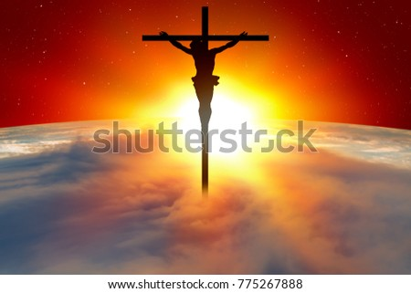 Planet Earth Spectacular Sunset Jesus On Stock Photo Edit Now
