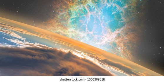 """Planet Earth with spectacular sunset on the background Crab Nebula, Supernova Core pulsar neutron star. """"Elements of this image are furnished by NASA"""""""