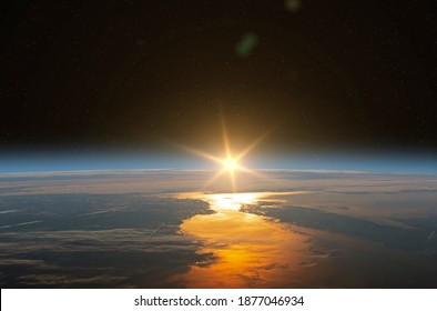 Planet Earth with a spectacular sunset. Surise and Earth. Elements of this image furnished by NASA.