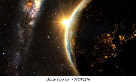 Planet Earth with a spectacular sunset, view on China and India. Elements of this image furnished by NASA