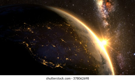 Planet Earth with a spectacular sunset, view on USA and Canada. Elements of this image furnished by NASA