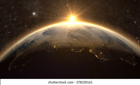 Planet Earth with a spectacular sunset, view on South America. Elements of this image furnished by NASA