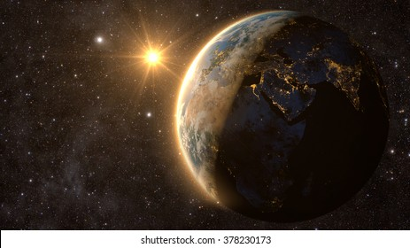 Planet Earth with a spectacular sunset, view on Europe, Asia and Africa. Elements of this image furnished by NASA