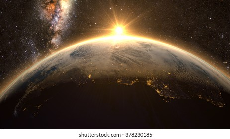 Planet Earth with a spectacular sunset, view on South America, with milkyway in background. Elements of this image furnished by NASA
