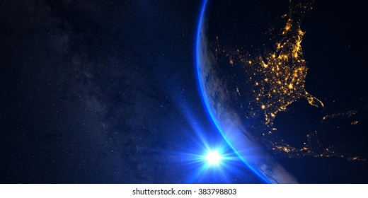 Planet Earth with a spectacular sunset, view on USA and Canada, with milkyway in background. Elements of this image furnished by NASA
