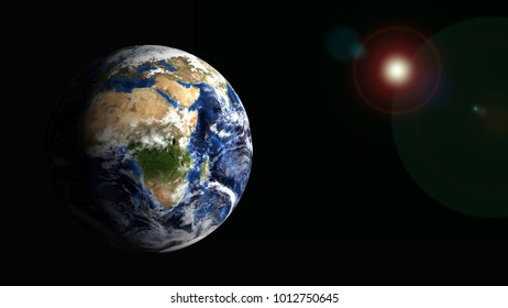 planet earth and sun 3d rendering