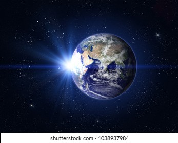 Planet Earth and Sun. Eastern hemisphere. This image elements furnished by NASA
