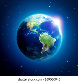 Planet earth with sun rising over Amerika (Elements of this image furnished by NASA)