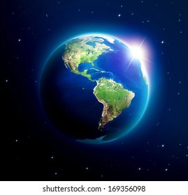 Planet earth with sun rising over America (Elements of this image furnished by NASA)