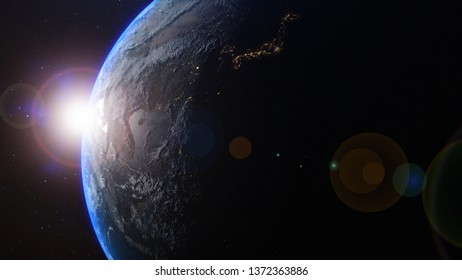 planet earth with sunrise in the space - Asia - elements of this image furnished by NASA