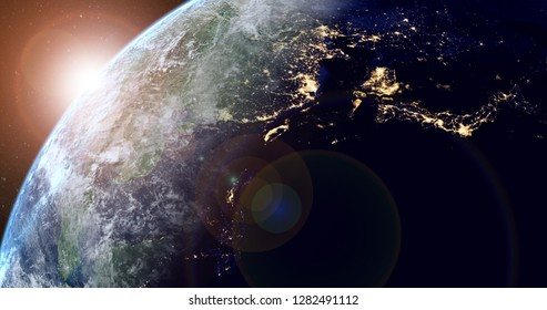 planet earth with sunrise in the space - Asta - elements of this image furnished by NASA