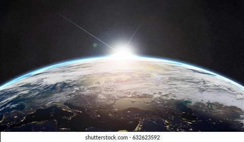 planet earth with sunrise in the space - Europe - elements of this image furnished by NASA