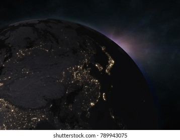 Planet Earth with sunrise in the space - Europe. Elements of this image furnished by NASA. 3d illustration