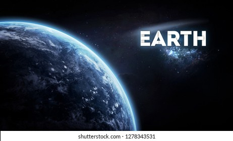 "Planet Earth with text logo ""Earth"". Galaxy on background. Abstract wallpaper. Elements of this image furnished by NASA"