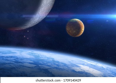Planet Earth, Venus, Moon and Sun. Abstract space background. Elements of this image furnished by NASA.
