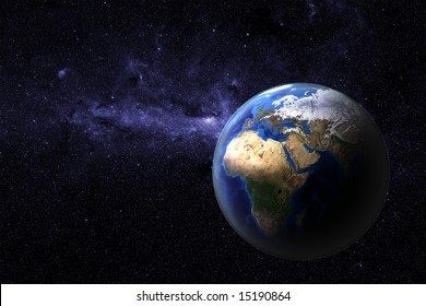 Planet earth - view onto Europe and Africa of a photo realistic and highly detailed computer rendering with atmospheric layer