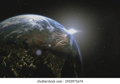 Planet Earth. View from space orbit. Photorealistic . Elements of this image are furnished by NASA