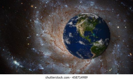 Planet Earth Virtual Reality Background - Digital World Pixels Concept (Elements of this image furnished by NASA)