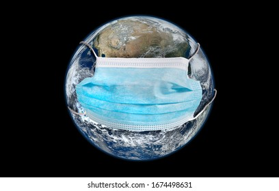 Planet Earth wearing protective mask against pandemic concept. Some Elements of this image furnished by NASA.