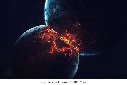 Planet Explosion. Apocalypse. End of The Time. Science fiction art. Beauty of deep space. Elements of this image furnished by NASA