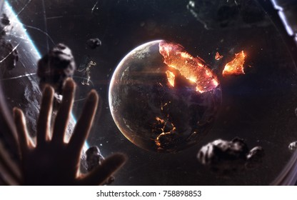 Planet explosion. Apocalypse in space, destroying cosmic object. Elements of this image furnished by NASA