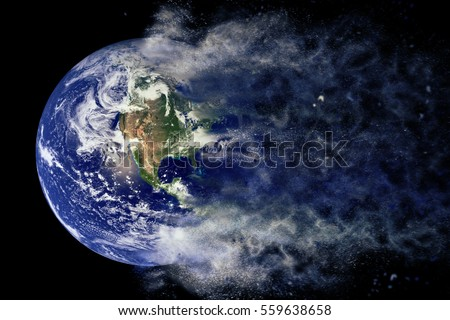 Planet Explosion - Earth. Science fiction art. Solar system. Elements of this image furnished by NASA