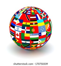 Planet flags. 3d