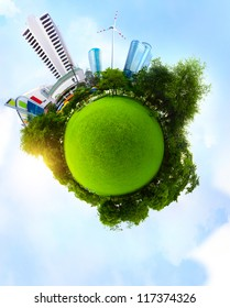 Planet with green meadow and trees and tall urban buildings with blue sky on the background